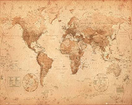Vintage World Map Poster Amazon.com: World Map Antique Style Art Print Poster 20x16 inch