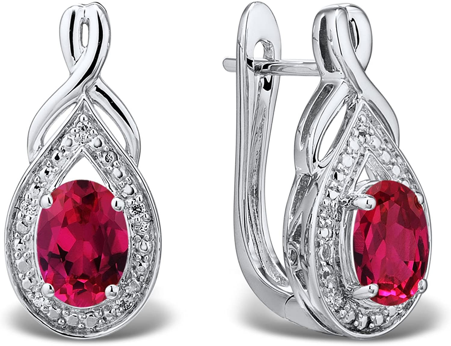 925 Sterling Silver Rhodium-plated Polished Oval Cut Created-Ruby Post Earrings