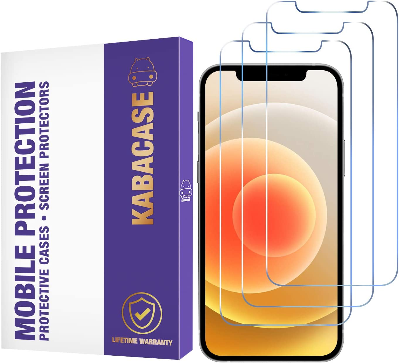 KabaCase Tempered Glass Screen Protector for iPhone 12, iPhone 12 Pro (3 Pack) -- Toughened Glass Protective Cover for 6.1-inch Apple iPhones -- [Ultra Clear] [Case Friendly] [Easy Install] [No Bubbles] [Anti Scratch] [Screen Saver] [High Definition]