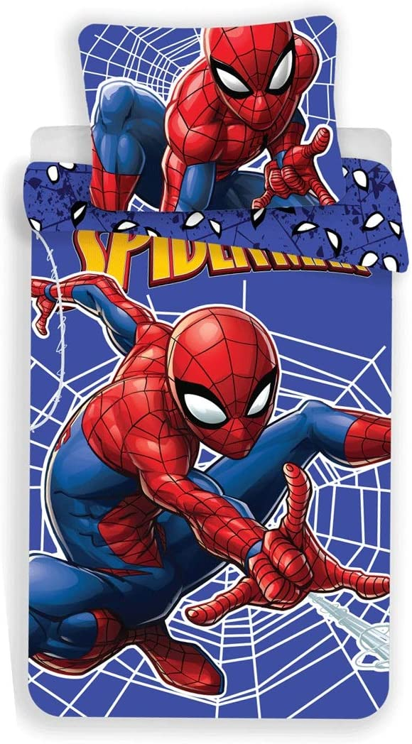 bestehend aus Bettbezug Spiderman 3-teilige Bettw/äsche f/ür Einzelkinderbett Kissenbezug und Spannbetttuch aus Baumwolle.