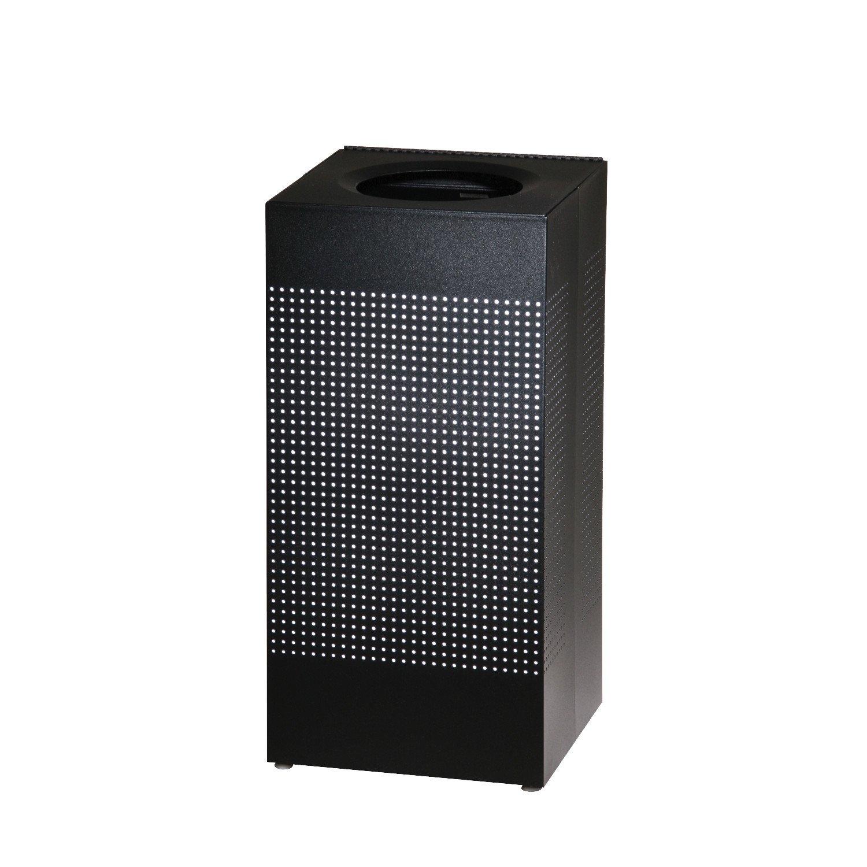 Rubbermaid Commercial Silhouettes Square Steel Designer Trash Can, 24-Gallon, Black