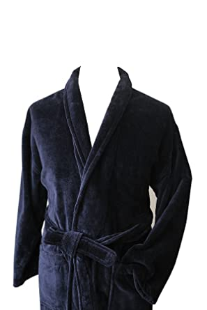 Mens Velour Dressing Gown Plain Navy Amazoncouk Clothing