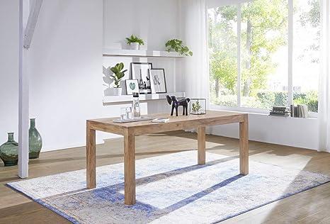 Wohnling Esstisch Massivholz Akazie 140 X 80 X 76 Cm Esszimmer Tisch Design Kuchentisch Modern Landhaus Stil Holztisch Rechteckig Dunkel Braun