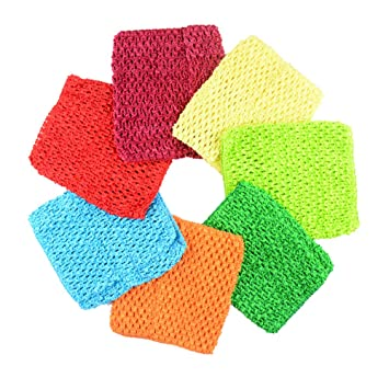 "a2f5851f3e Amazon.com  BERON Pack of 7 6"" Handmade Baby Girl Silk Crochet Tutu Tube  Top Chest Wrap for Toddler Infants(AID27-B)  Arts"