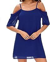 Eloise Isabel Fashion Mulheres chiffon blusa da moda cor sólida fora do ombro slip dress curto