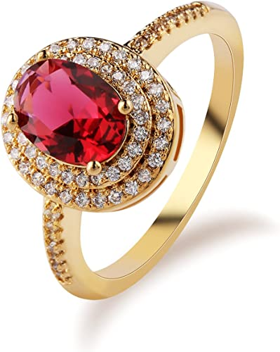 Sterling Silver Filled Royal Wedding Engagement Red Zircon Ring