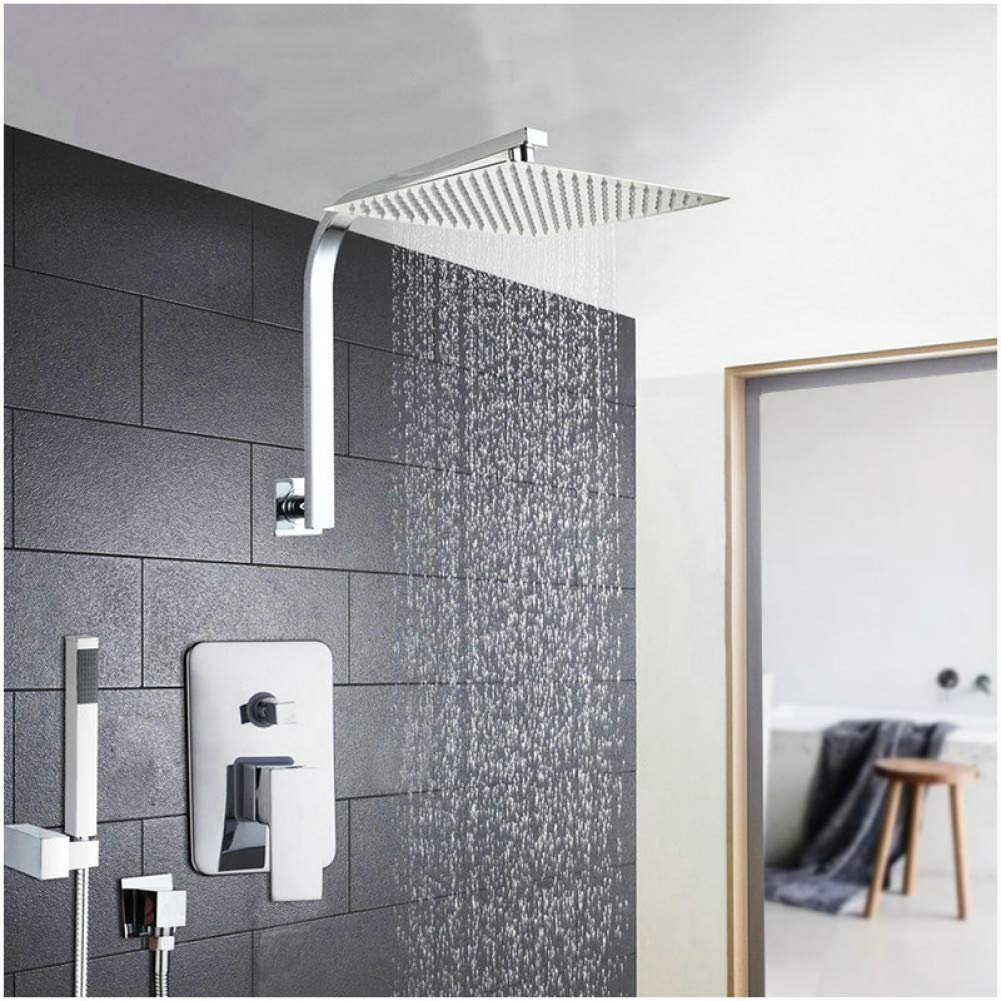 16 Inch Shower Set HUASAA 6 8 10 12 16 Inch Shower Head System Stainless Steel Rainfall Shower Set Faucets With Hand Shower Bathroom Bath Shower Combo Set