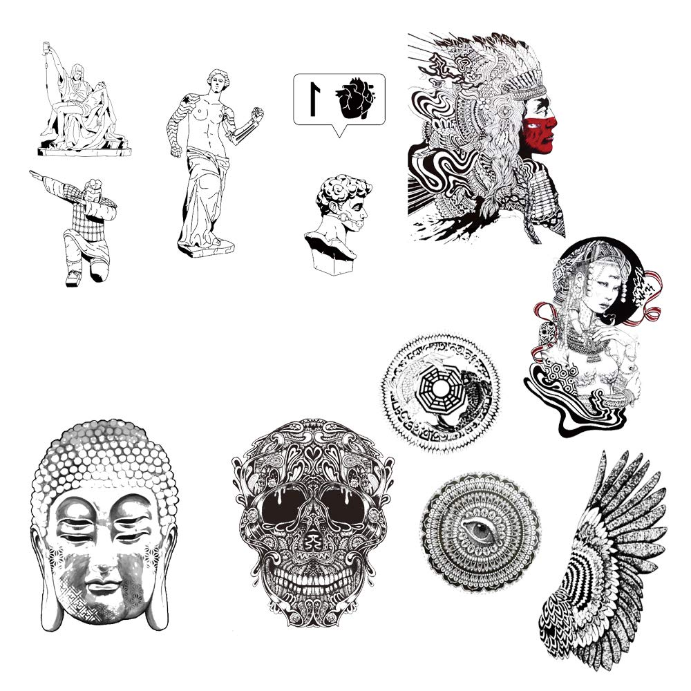 12 Creative Design Temporary Tattoos by Inktells 2020 new,Waterproof fake tattoos for Women Men Adult Kids Boys Girls,Neck Back Arm Hand Stickers about Skull Buddha Statue Oriental Culture(4 sheets)