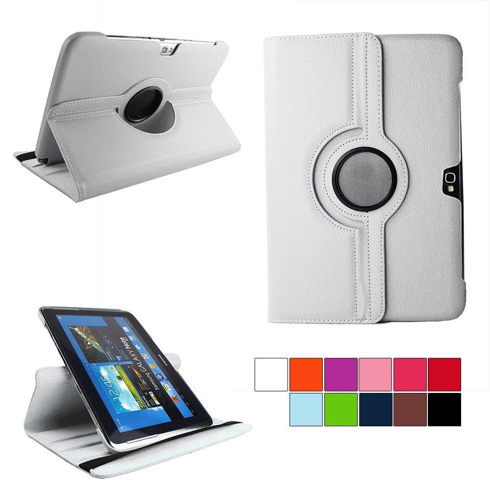 COOVY® Funda para Samsung Galaxy Note 10.1 GT-N8000 GT-N8010 GT-N8020 Smart 360º Grados ROTACIÓN Cover Case Protectora Soporte | Color Blanco