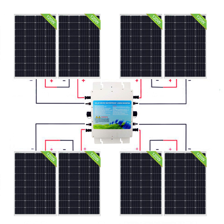 ECO-WORTHY 960W IP65 Kit de panel solar: 8 paneles solares de 120 W + 1200 W 24 V-220 V inversor impermeable para el hogar