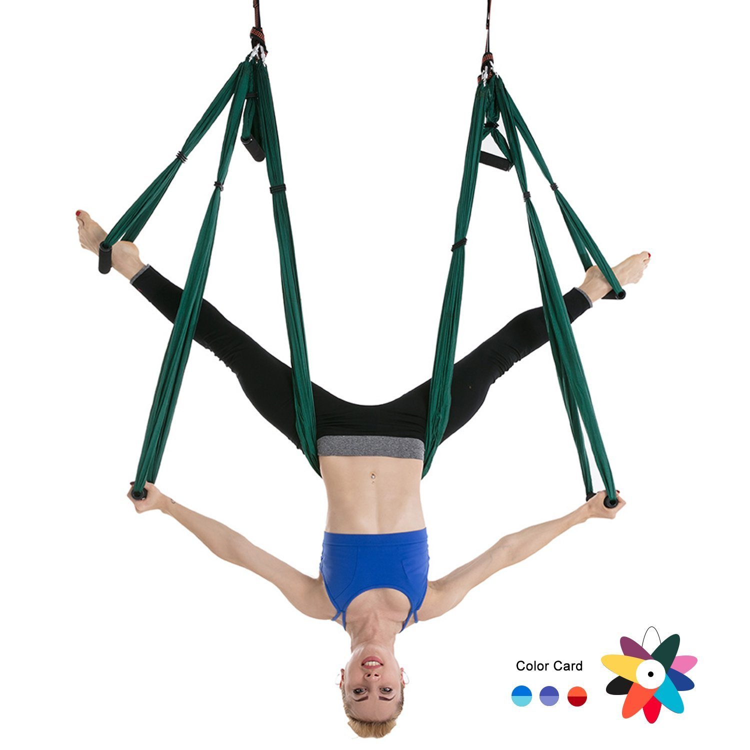 Ranbo Yoga Inversion Swing - Anti-Gravity Aerial Trapeze - Flying Hammock Sling - Relieves Back Pains, Improves your Strength, Balance, Flexibility and Endurance (Dark green)