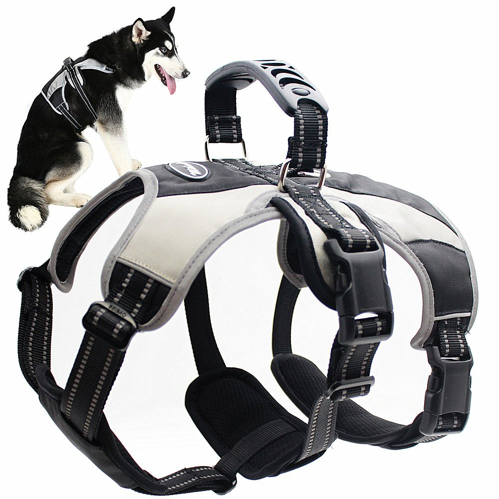 Mihachi Large Secure Dog Harness - Escape-Proof Reflective Dogs Vest with Lift Handle for Training Outdoor Adventures,L (27''-32'')