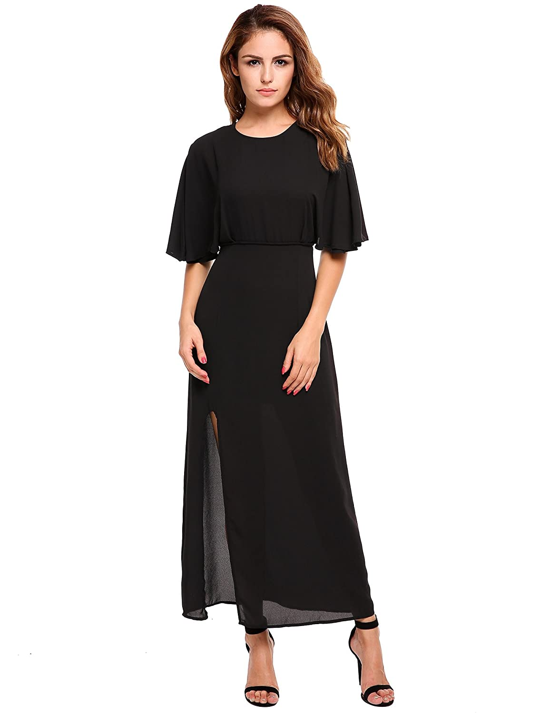 3171a23091 ACEVOG Women Chiffon Ruffle Sleeve Sexy Backless Side Split Summer Long  Maxi Dress at Amazon Women s Clothing store
