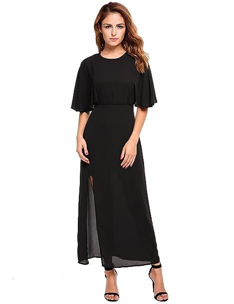 8f758e7315 ACEVOG Women Casual Short Sleeve Ruched Chiffon Bridesmaid Maxi Dress(B