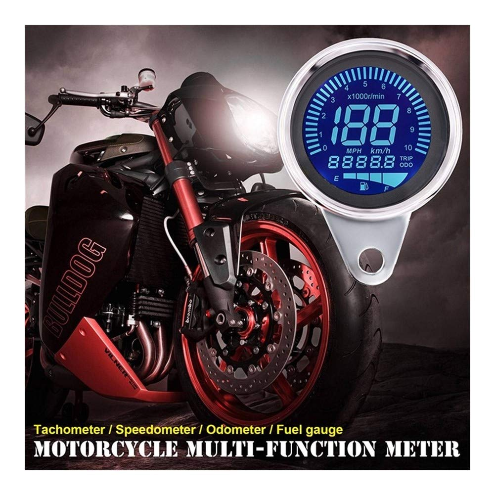 LTGJJ Motorcycle Tachometer,Motorcycle Accessories 12v LCD Tachometer Instrument Combination Speed Odometer Oil Gauge Speedometer by LTGJJ