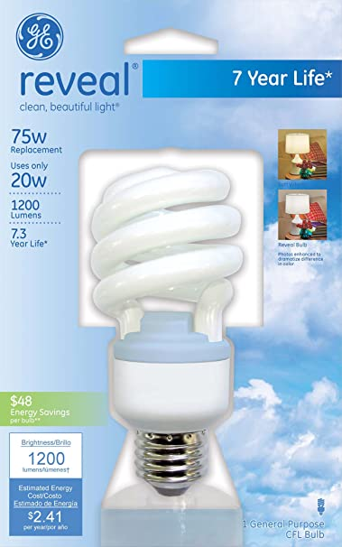 GE Lighting 75407 Reveal Spiral CFL 20-Watt (75-watt replacement) 1200-Lumen T3 Spiral Light Bulb with Medium Base, 1-Pack - Compact Fluorescent Bulbs ...