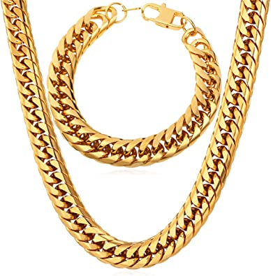 U7 Men 18 Inch Gold Choker Chain And Bracelet Set 12mm Chunky Thick Franco Curb Link Jewelry Set Amazon Com