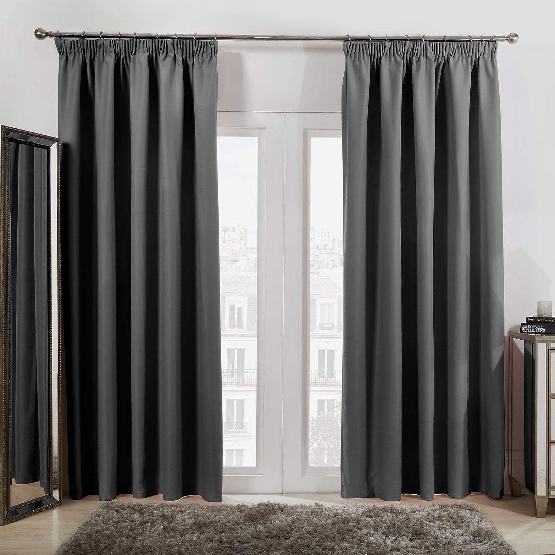 Dreamscene Thermal Pencil Pleat PAIR of Blackout Curtains /& Tiebacks Ready Made