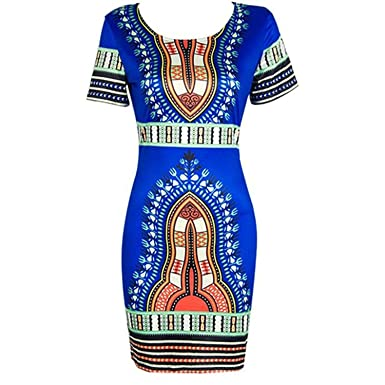 fba5078a009 Image Unavailable. Image not available for. Color  SKYHALO Women  Traditional African Print Dashiki Bodycon Stretch Dress Oversized