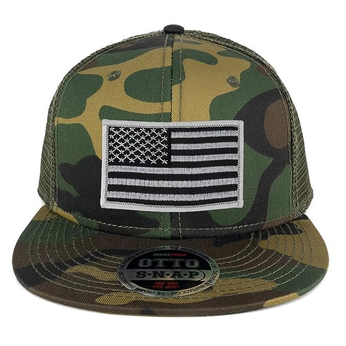 USA American Flag Embroidered Patch Snapback Camo Mesh Cap - CAMO OLIVE -  BLACK GREY 24ca357d3c2