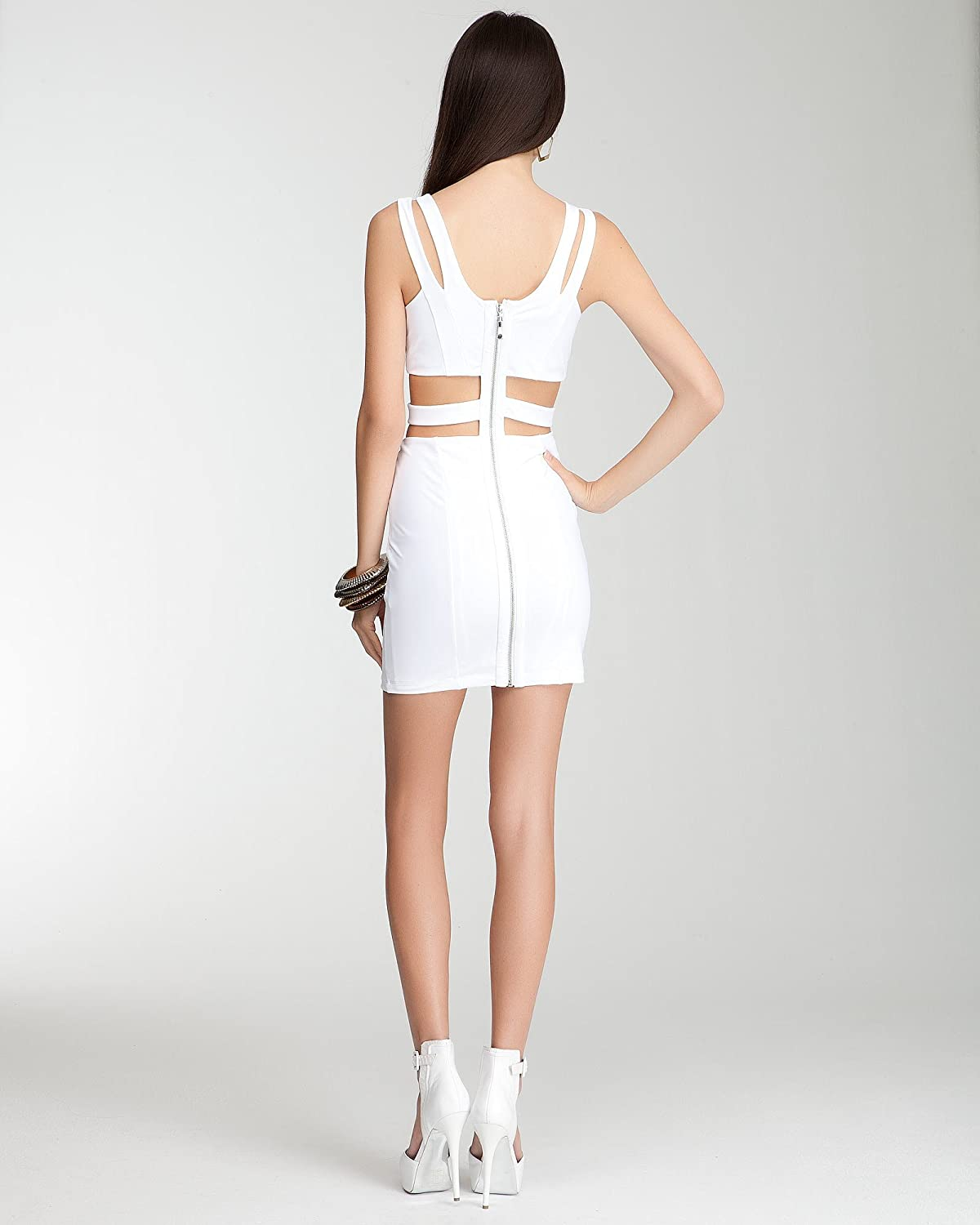 7adc8c229f BB Studded Cutout Bodycon Dress -Bebe Addiction Spcl Events/eve Dresses  White-s at Amazon Women's Clothing store: