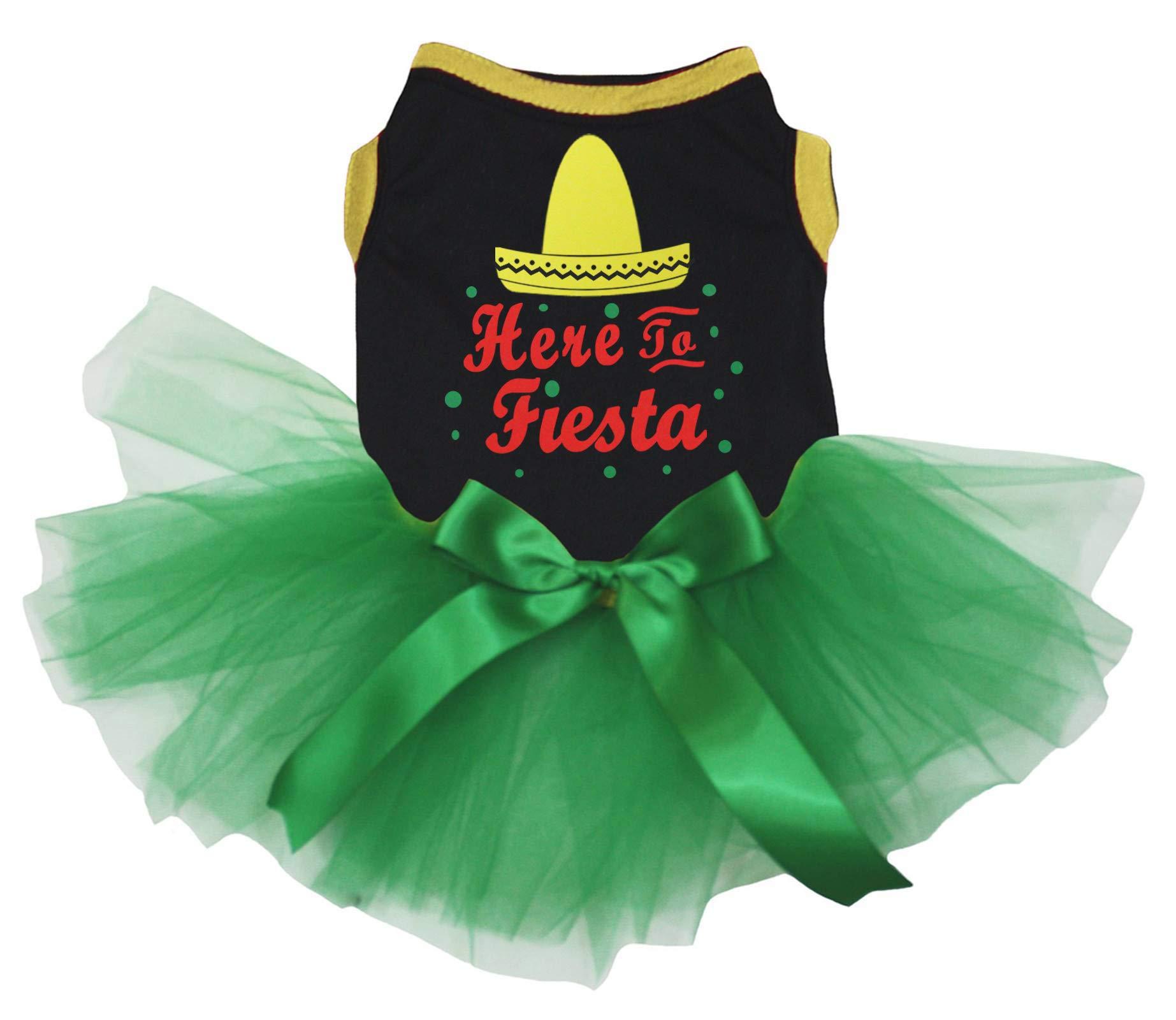 Petitebella Here to Fiesta Black Cotton Shirt Tutu Puppy Dog Dress (Green Tutu, Small)