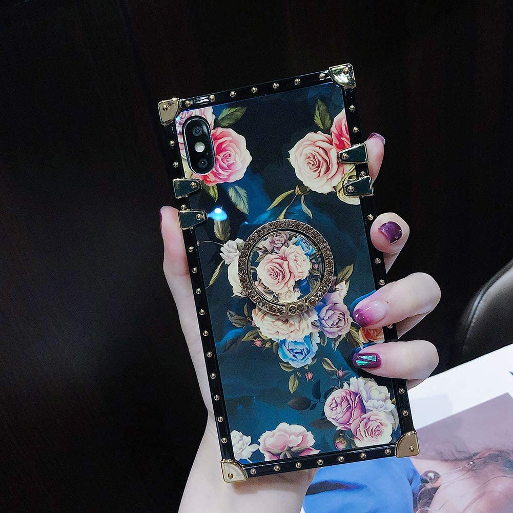 Retro Square Floral Phone Case for iPhone Xs Max with Holder Ring Rose Flowers Soft Protective Shockproof Cover (Rose 1, iPhone Xs Max 6.5'')