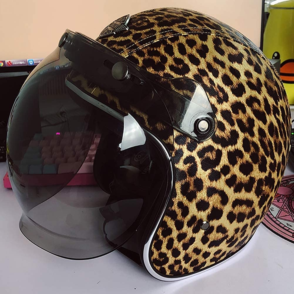 LALEO PU Cuero Personalidad Cool Estampado Leopardo Retro Harley Casco Moto Abierto con Escudo Burbuja, Desmontable Transpirable Hombres y Mujeres, ECE Certificado S-XXXL (55-65cm)