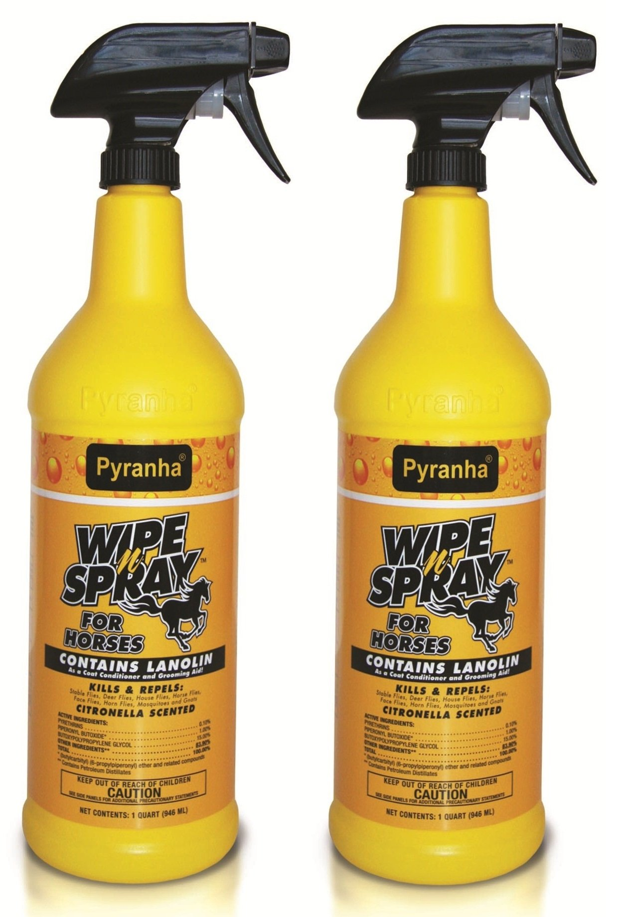 PYRANHA Wipe N Spray Fly Protection ALL SIZES (2 Bottles)