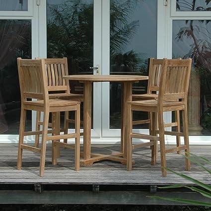 Amazoncom Anderson Teak Avalon Piece Bar Height Patio Dining - Teak bar height outdoor table