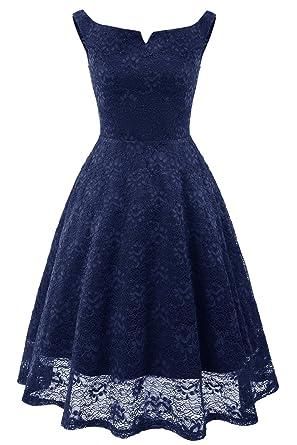 Avril Dress Womens Sleeveless Lace Prom Dress Wedding Party Dress Evening Dress-S-Navy