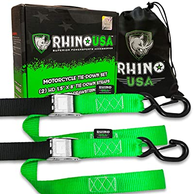 RHINO USA Motorcycle Tie Down Straps (2 Pack) Lab Tested 3,328lb Break Strength, Steel Cambuckle Tiedown Set with Integrated Soft Loops - Better Than a Ratchet Strap…: Automotive