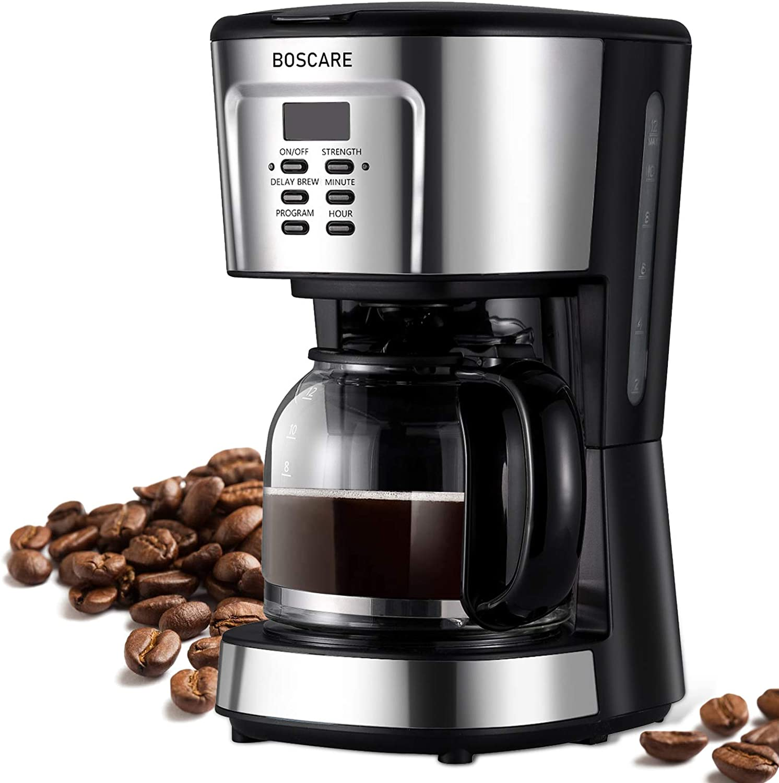 Cafetera programable BOSCARE, 12 tazas de café con filtro de goteo, cafetera con apagado automático, control de fuerza, color negro plateado: Amazon.es: Hogar