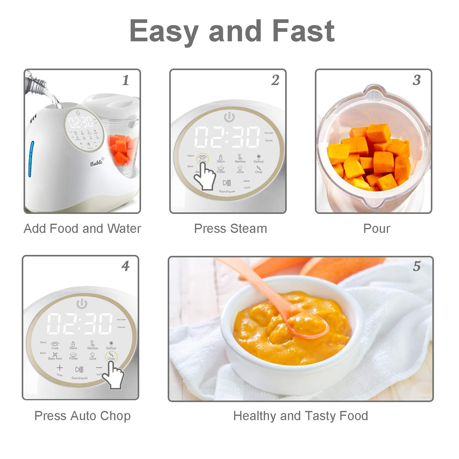 Baby Food Maker for Infants and Toddlers, Bable All in 1 Food Processor Mills Machine with Steam, Blend, Chop, Reheater, Grinder and Auto Cleaning, Touch Control Panel, Auto Shut-Off by BABLE (Image #3)