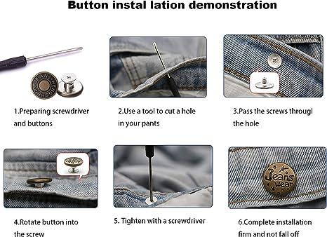 ropa de bricolaje Bot/ón retr/áctil de 12 piezas de jeans manualidades de costura bot/ón instant/áneo desmontable ajustable que se extiende a 1-2para pantalones