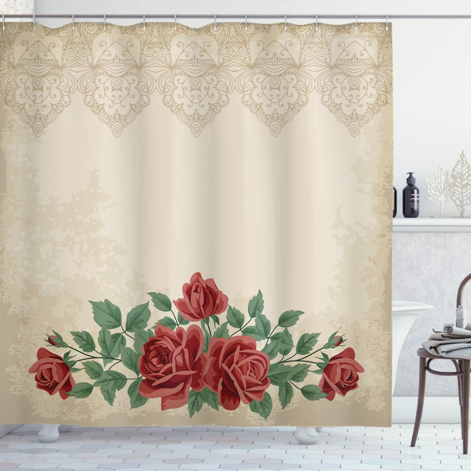 Ambesonne Shabby Flora Shower Curtain, Vintage Glamour Background with Red Rose Love and Attraction Delicacy, Cloth Fabric Bathroom Decor Set with Hooks, 75
