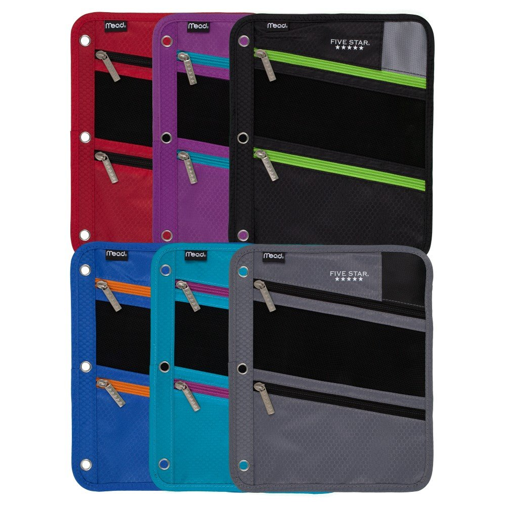 73112 Five Star Zipper Pouch // Case ACCO Brands 6 Pack Assorted Colors