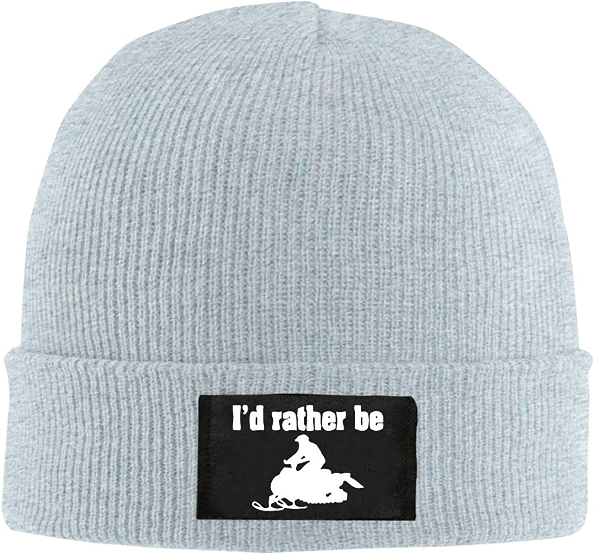 Mens/&Womens Id Rather Be Snowmobiling Soft Skull Cap