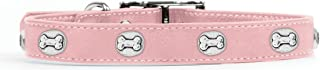product image for Rockin Doggie Bone Rivets Leather Dog Collar, 1/2 by 8-Inch, Pink