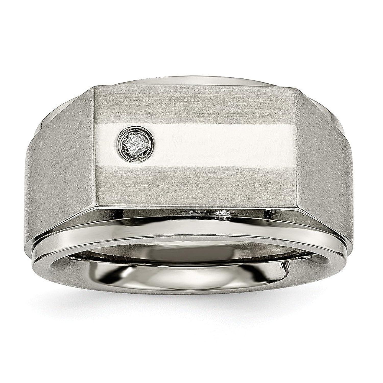 Titanium Satin & Polished Diamond Band Size 9.5
