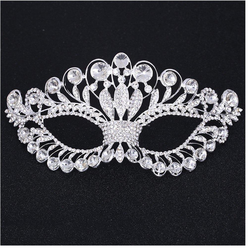 Xiwstar Luxury Womens Rhinestone Crystal Fancy Masquerade Eye Mask for Halloween Party