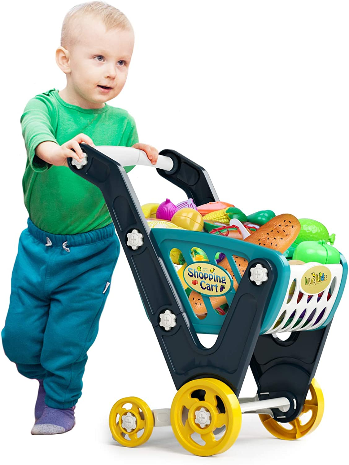 burgkidz Shopping cart for Kids,Toy Shopping Cart for Toddlers, Supermarket Playset Include 73 Pieces Pretend Play Food and Accessories,Grocery Cart for Kids Age 3+