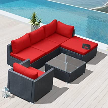 Merveilleux Modenzi L6D U Outdoor Sectional Patio Furniture Espresso Brown Wicker Sofa  Set (Red)