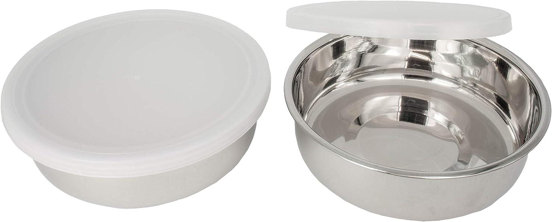 2X 190ml amaux Edelstahl-Schalen-Sch/üsseln mit Deckel f/ür Snacks 10x3cm Dips und mehr