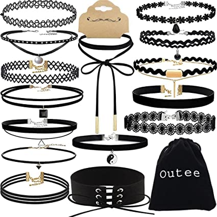 Choker Set, Outee 15 PCS Black Girls Women Choker Necklace Velvet Charm Choker Black Bead Necklaces for Women