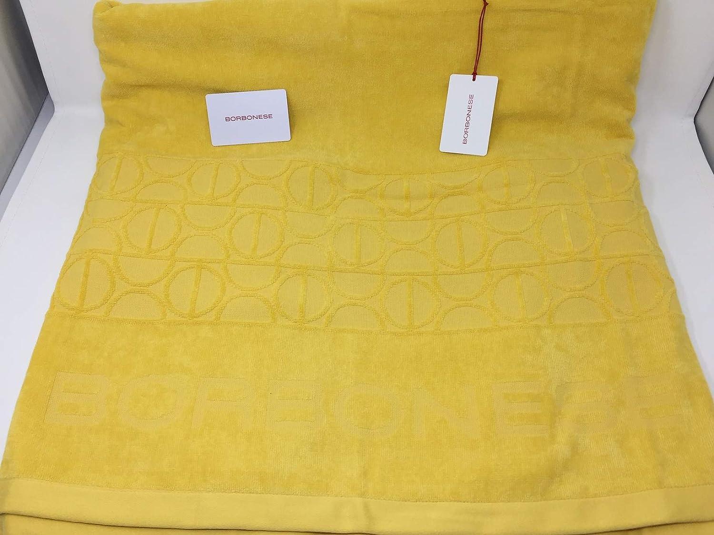 Borbonese Telo Mare art Sun tinta unita in pura spugna idrofila lavorazione jacquard 400 gr//mq con custodia cm giallo Luna 100x180