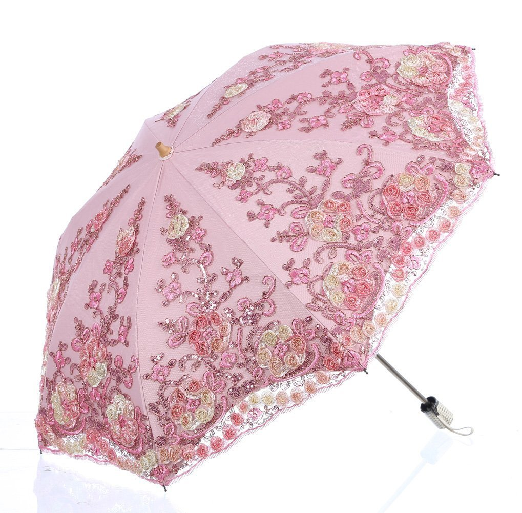 LCY Lace Snow/Rain/Sun UV Parasol 2 Folding Embroidery Wedding Umbrella-Pink