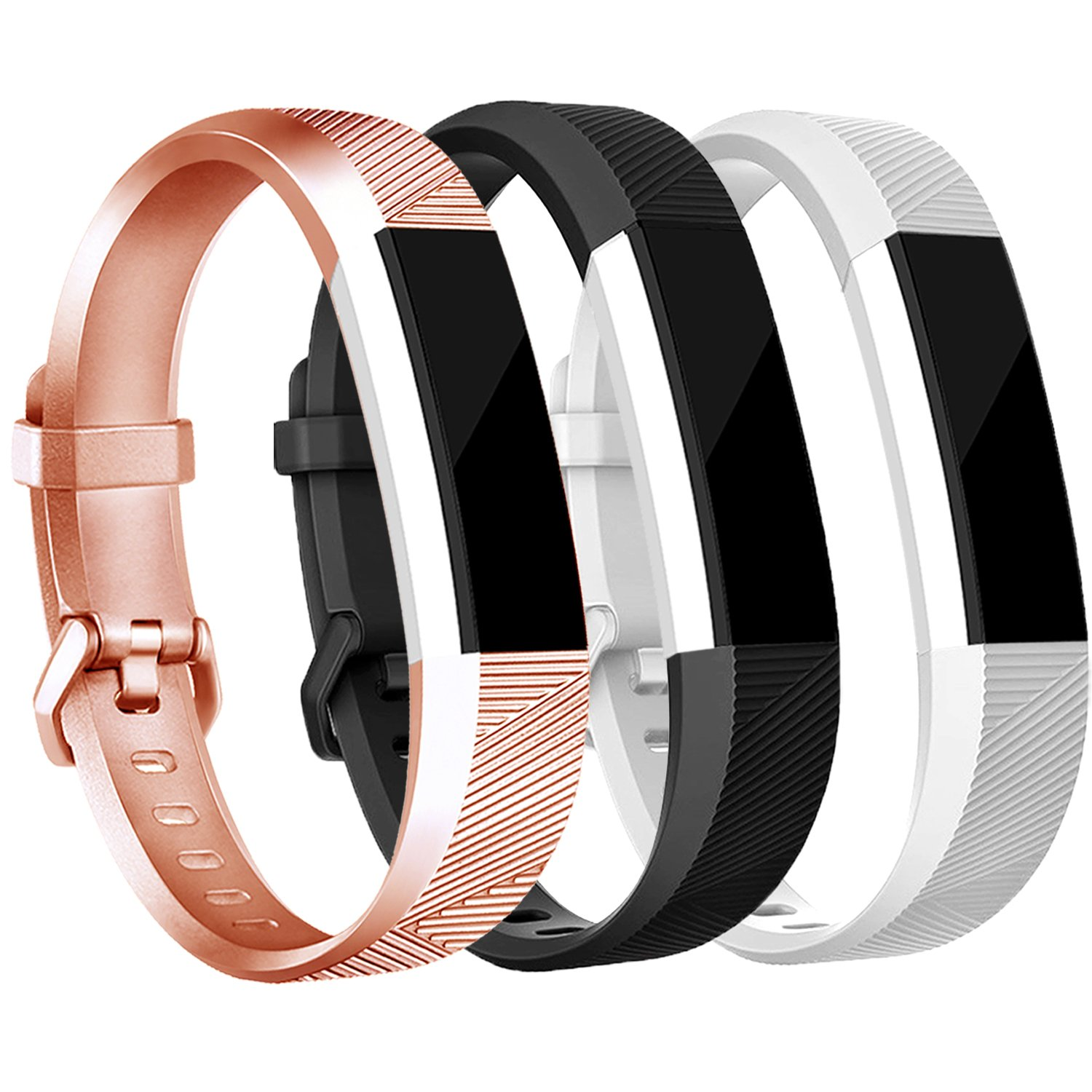 tobfit Fitbit ALTA用HRバンドレディース、メンズ、最新スタイル – スムースTpuローズゴールドandゴールドクラシックFitbit ALTA WatchアクセサリーWristbands with Metal Buckle/Clasp for Fitbit ALTAアルタHRと  buckle 3PCS-Rose Gold+Black+White Large(6.7\ B077D47J84