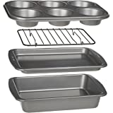 Ecolution 4-Piece Toaster Oven Bakeware Set – Non-Stick Free of PFOA, BPA, and PTFE – Heavy Duty Carbon Steel – Includes Cake Pan - Cookie Sheet - Muffin Pan – Cooling Rack
