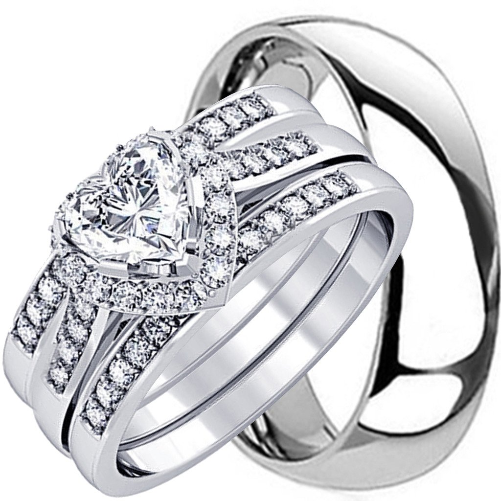 NYCJewelrydesign 4 Pieces Men's and Women's, His & Hers, 925 Genuine Solid Heart Cut Sterling Silver & Titanium Engagement Matching Wedding Ring Set